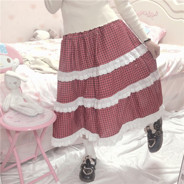 Red Plaid Cottagecore Skirt with Lace