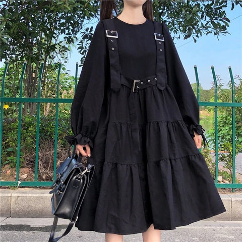 Dark Lolita Midi Dress with Suspender Belt