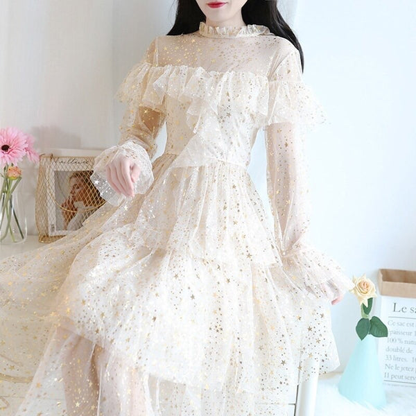 Starry Princess Fairy Dress with Ruffles