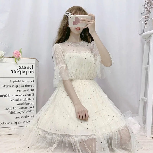 Twinkling Star Embellished Loose Tulle Fairy Dress