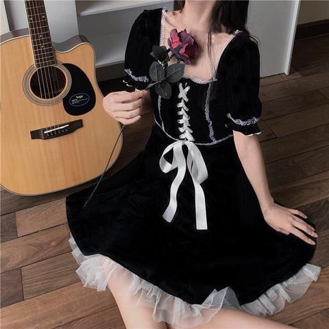 Cloud Velvet Short Sleeve Gothic Doll Dark Lolita Dress