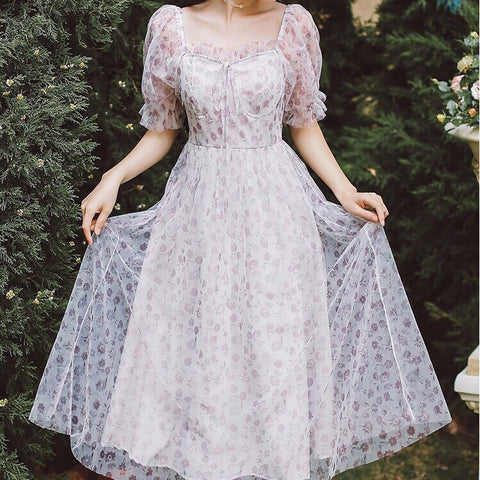 Abigail Violet Floral Romantic Cottage Fairy Dress