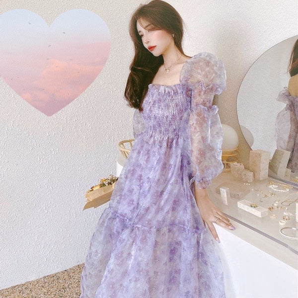 Lilac Blues Floral Princess Fairy Dress