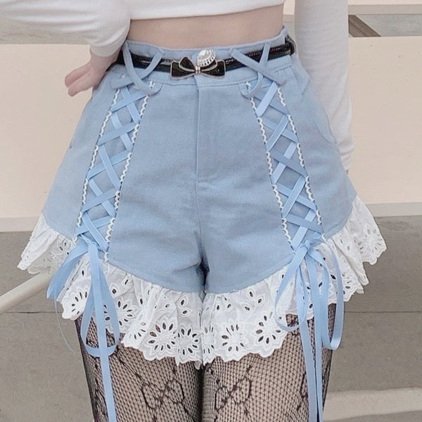 Kawaii Aesthetic Lace Ruffle High Waist Ribbon Shorts