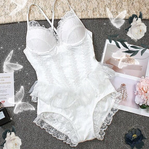 White Lace One Piece Lolita Swimsuit Bathing Suit