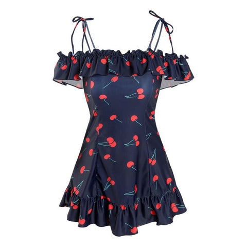 Cherry One-Piece Ruffle Nymphet Lolita Swimsuit