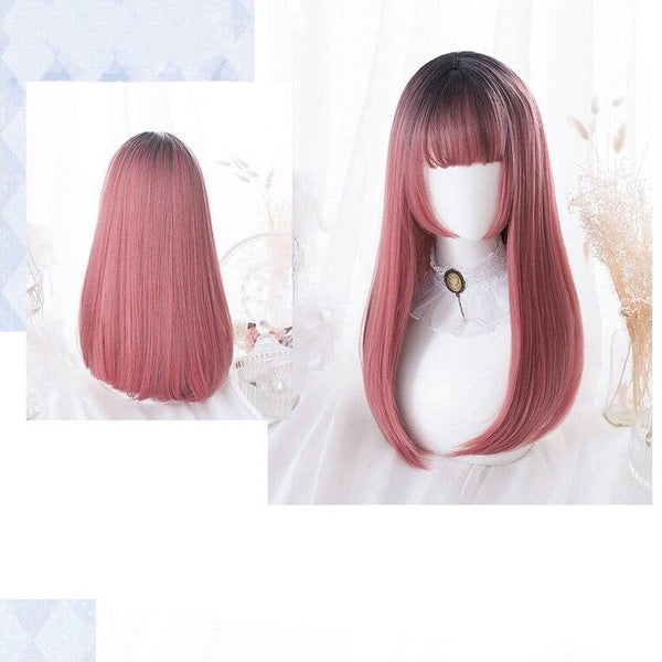 BlossomBerry Burgundy with Black Ombre Mix Long Straight/Wavy Kawaii Cosplay Lolita Wig with Bangs