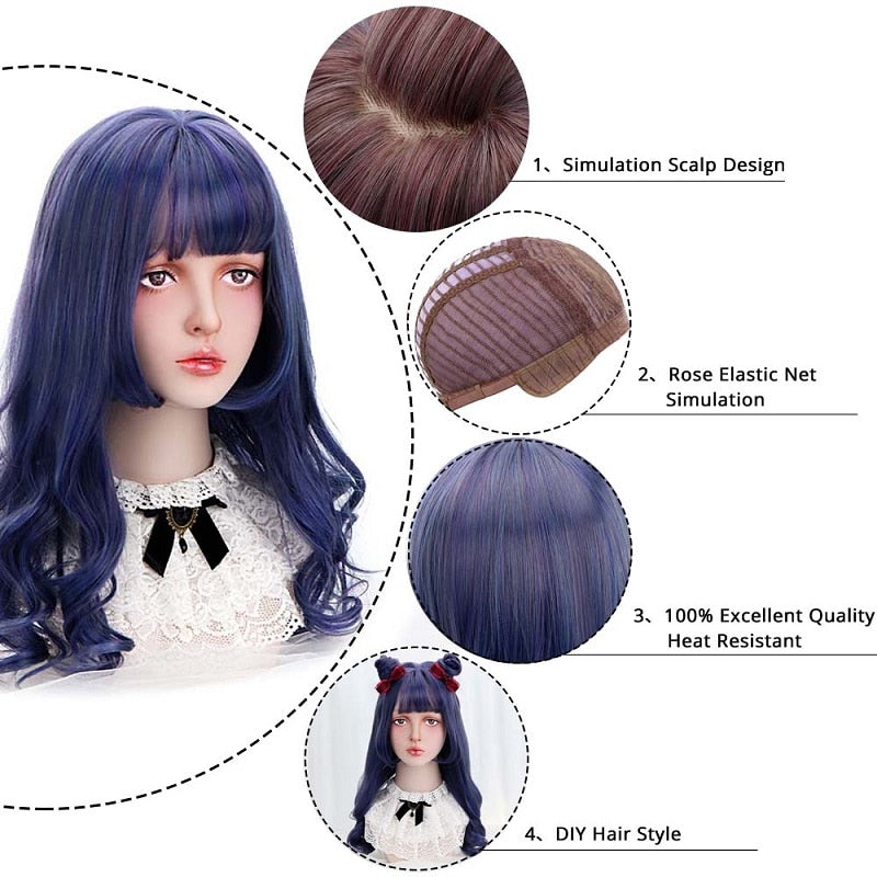 Midnight Blue Long Wavy Lolita Wig With Bangs