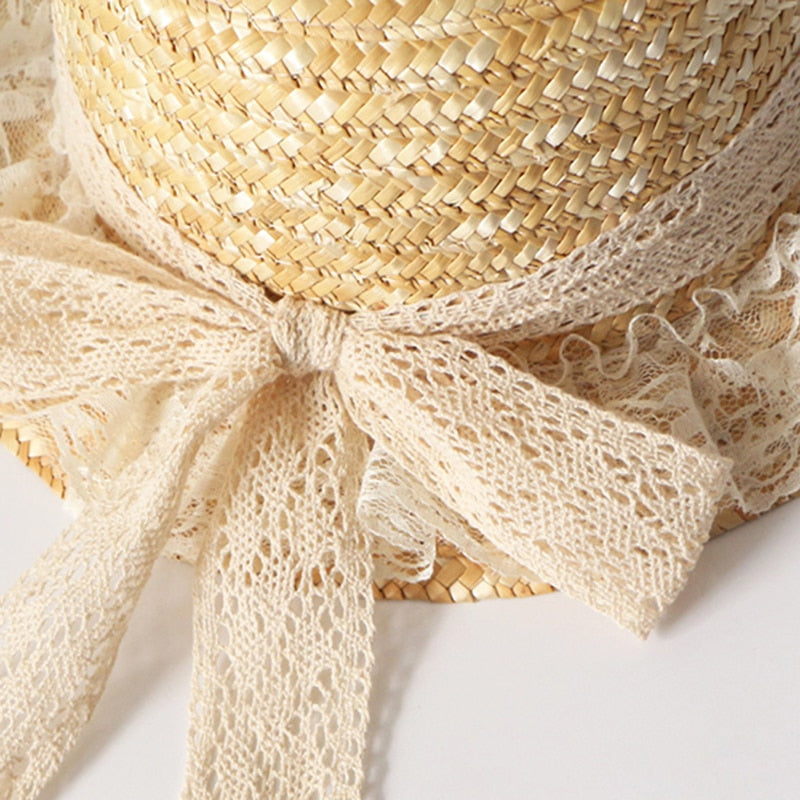 Summer Lolita Straw Boater Hat with Lace Ribbon