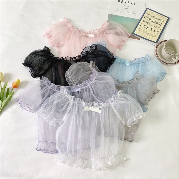 Sheer Fairy Larme Ruffle Top with Bow