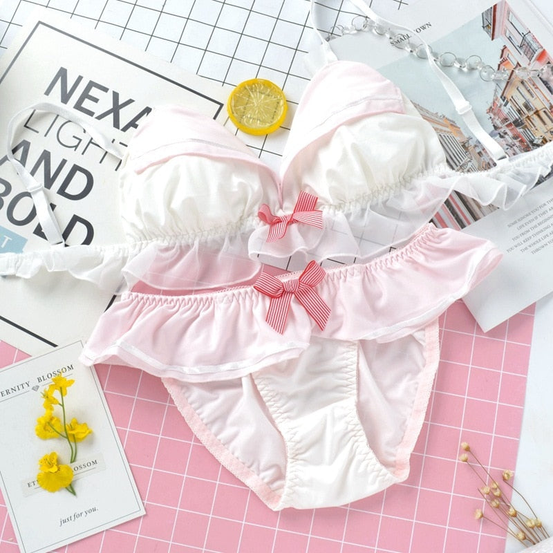 Soft Pink Kawaii Sailor 2-piece Lolita Lingerie Set