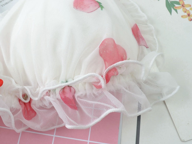 White Strawberry 2-piece Kawaii Lolita Nymphet Lingerie Set
