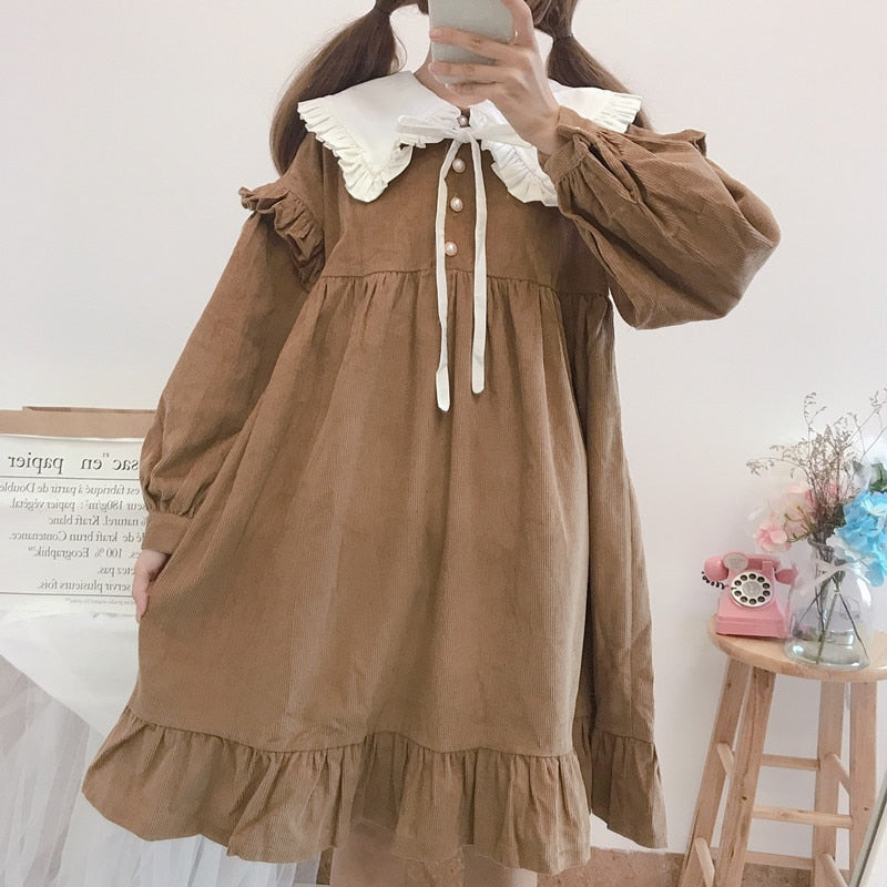 Walnut Mori Girl Long Sleeve Dolly Dress