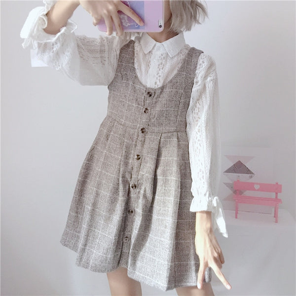 Plaid Kawaii Dolly 2-Piece Pinafore Set