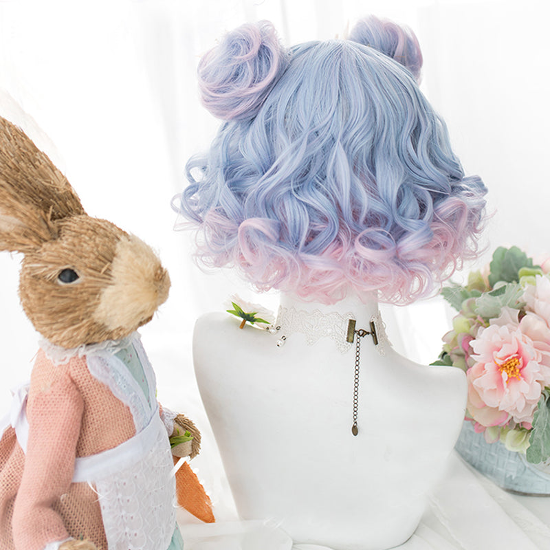 Blue Rose Curly Bob With Buns Lolita Wig