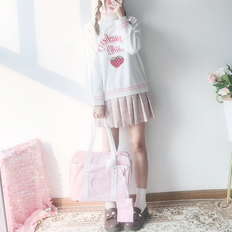Kawaii Strawberry Milk Embroidered Sweater