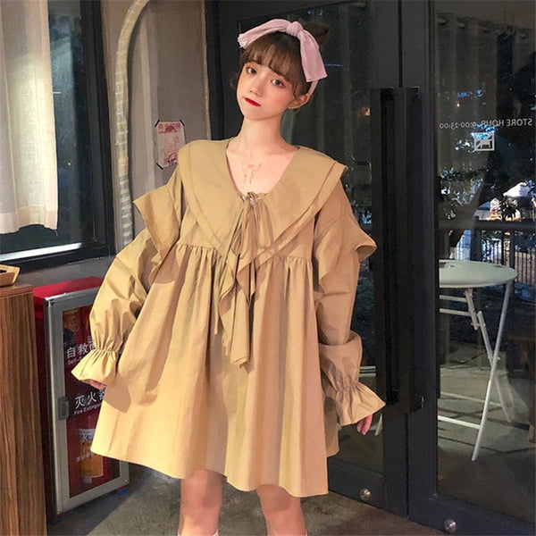 Casual Ruffled Loose Shirt Dress