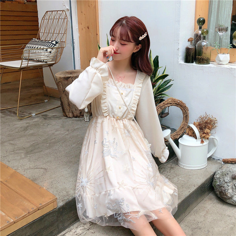 Moonshine Stars Embroidered Fairy Dress