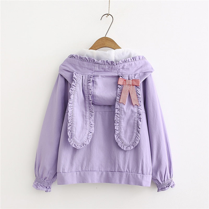 Kawaii Pastel Aesthetic Bunny Jacket with Rabbit Ears Hoodie