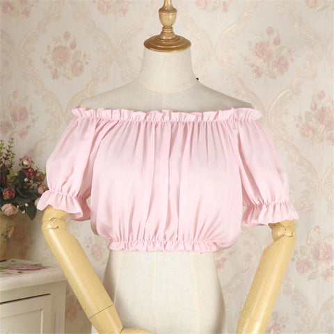 Off-the-Shoulder Chiffon Lolita Crop Top Blouse