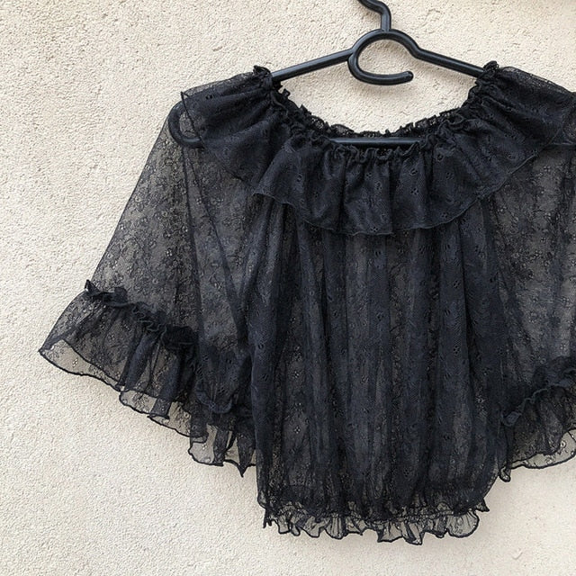 Sheer Lace Lolita Blouse with Floral Embroidery