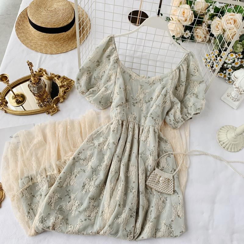 Helen Lightlake French Vintage Style Lace Floral Dress