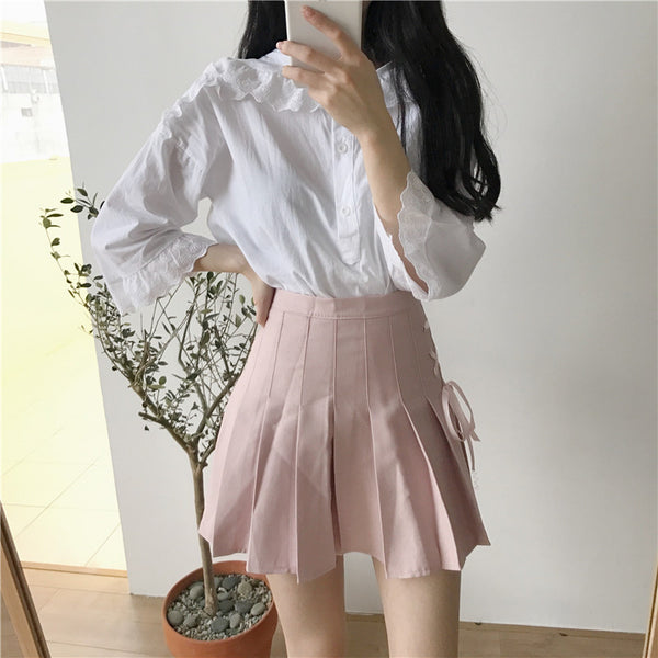 Casual High Waist Pleated Lace-Up Ribbon Mini Skirt