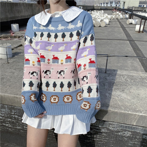 Pastel Fairy-Kei Kawaii Aesthetic Winter Sweater