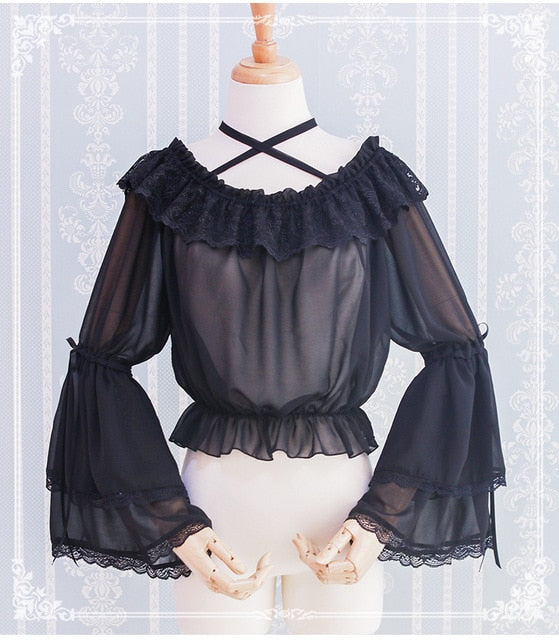 Gothic Lolita Chiffon Blouse with Flared Sleeves