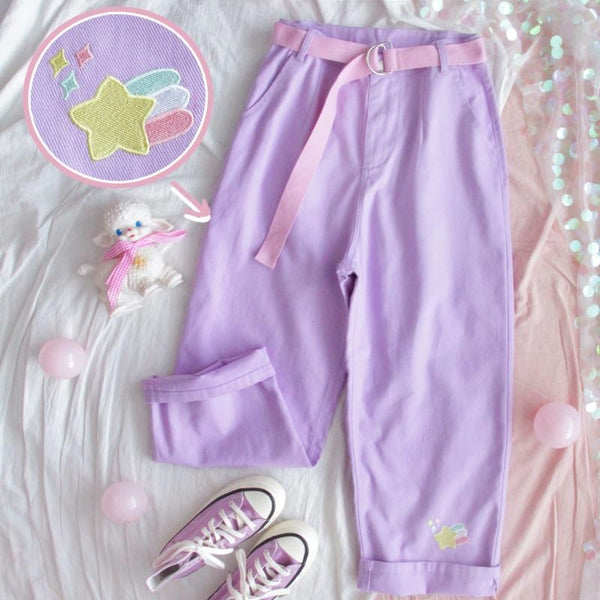Kawaii Pastel Aesthetic High Waist Lavender Denim Pants