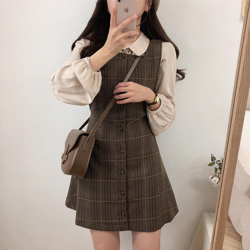 Cocoa Dust Plaid Vintage-Style Pinafore Mini Dress