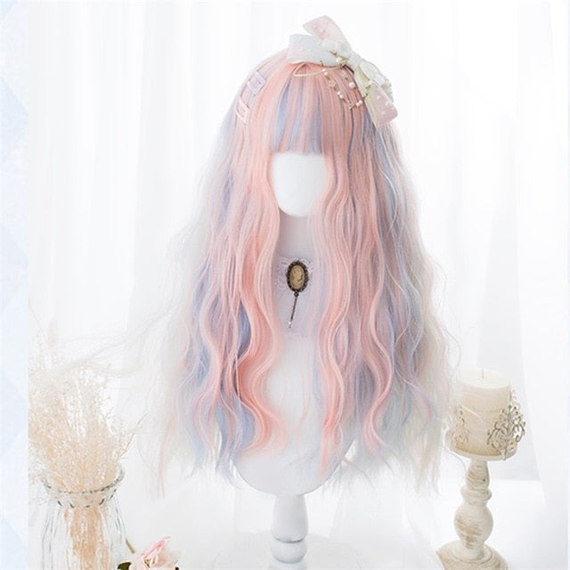 Peach Pink / Blue / White Blonde Mix Long Wavy Cosplay Kawaii Lolita Wig with Bangs