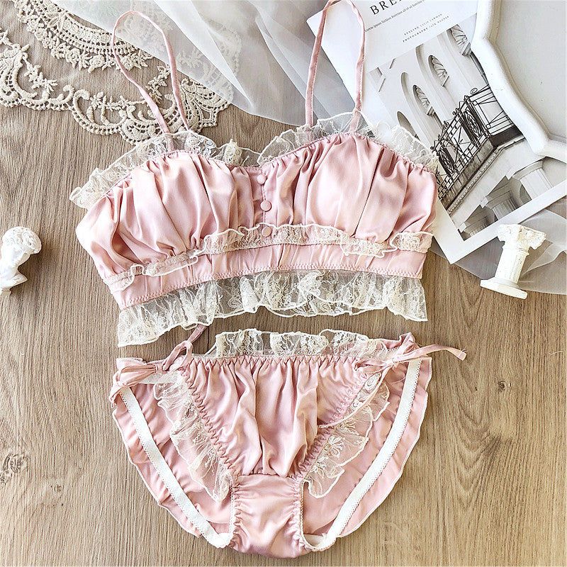 Satin Lace Vintage Aesthetic 2-piece Kawaii Princess Lolita Nymphet Lingerie Set