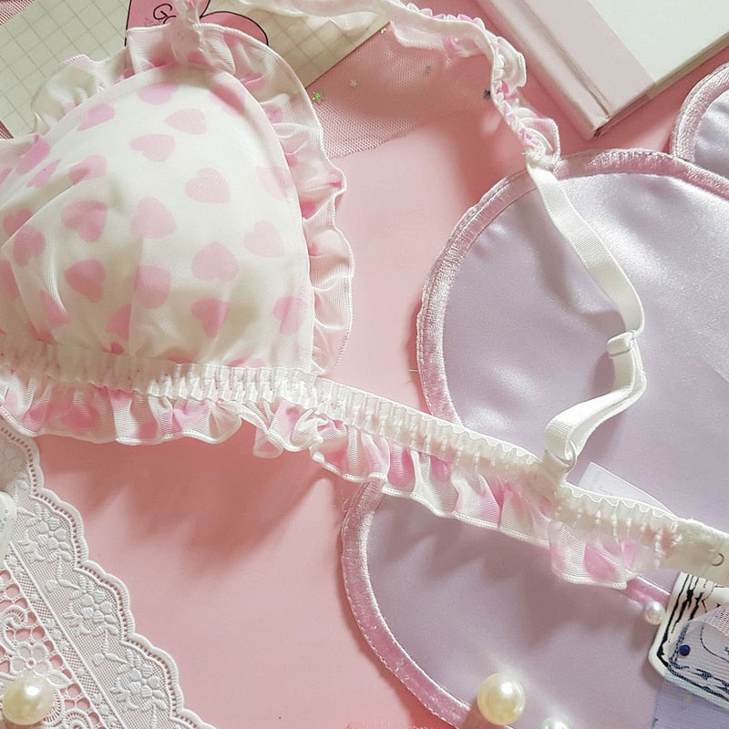 Pink Hearts 2-piece Kawaii Princess Lolita Nymphet Lingerie Set