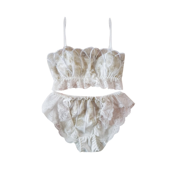 Lace Vintage Aesthetic 2-piece Kawaii Princess Lolita Nymphet Lingerie Set