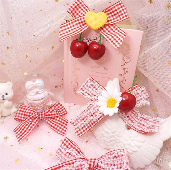 Lace Cherry Gingham Kawaii Lolita Hairclip
