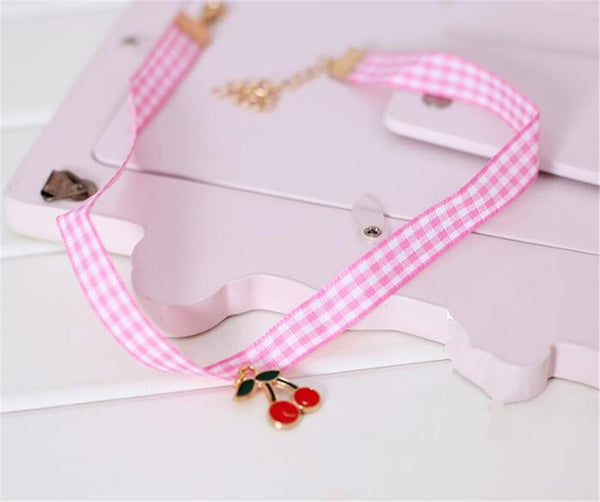 Cherry Kawaii Lolita Plaid Gingham Ribbon Choker