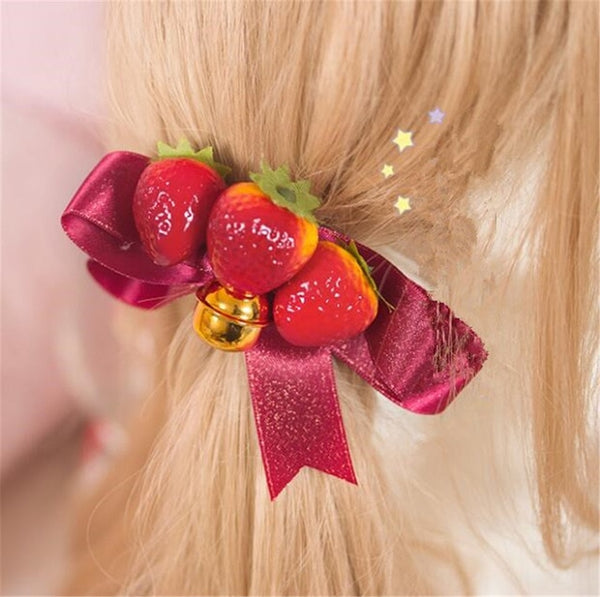 Mori Girl Strawberry Bow Lolita Hairclip