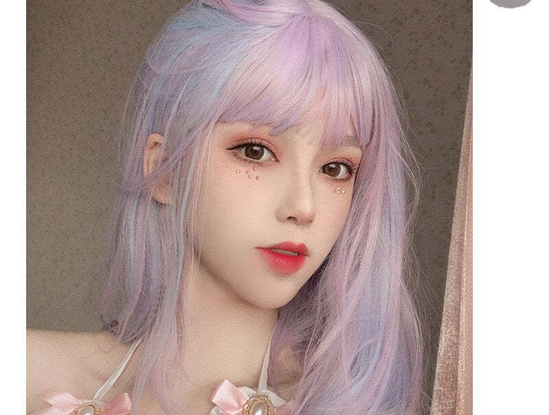 Plum Fairy Pink&Purple Mix Straight Cosplay Lolita Wig with Bangs