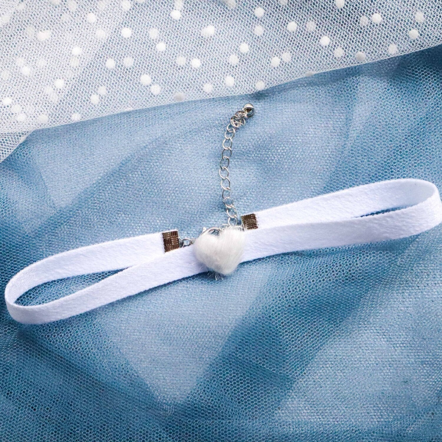 White Ribbon Choker Lolita Necklace