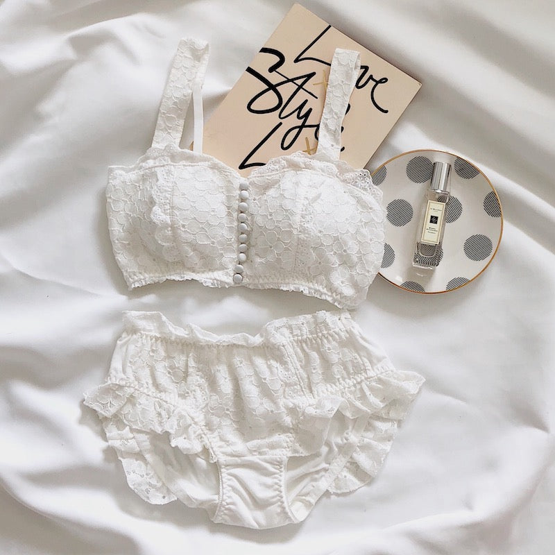 Cotton Lace Vintage Aesthetic 2-piece Kawaii Princess Lolita Nymphet Lingerie Set