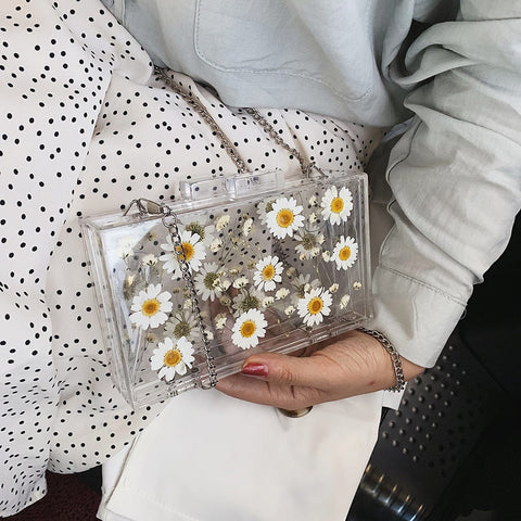 Daisy Dream Aesthetic Acrylic Clutch Bag