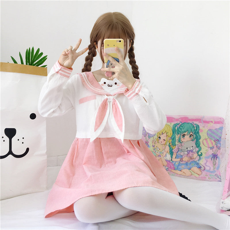 Kawaii Girl Bunny Rabbit Ears Bow Sailor Dress