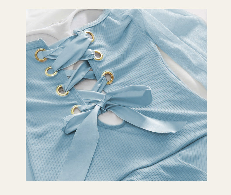 Sky Blue One Piece Long Sleeve Bathing Suit Swimsuit