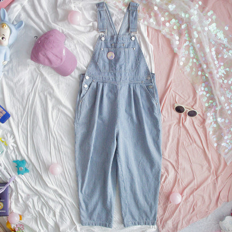 Casual Kawaii Aesthetic Loose Striped Denim Jumpsuit Romper