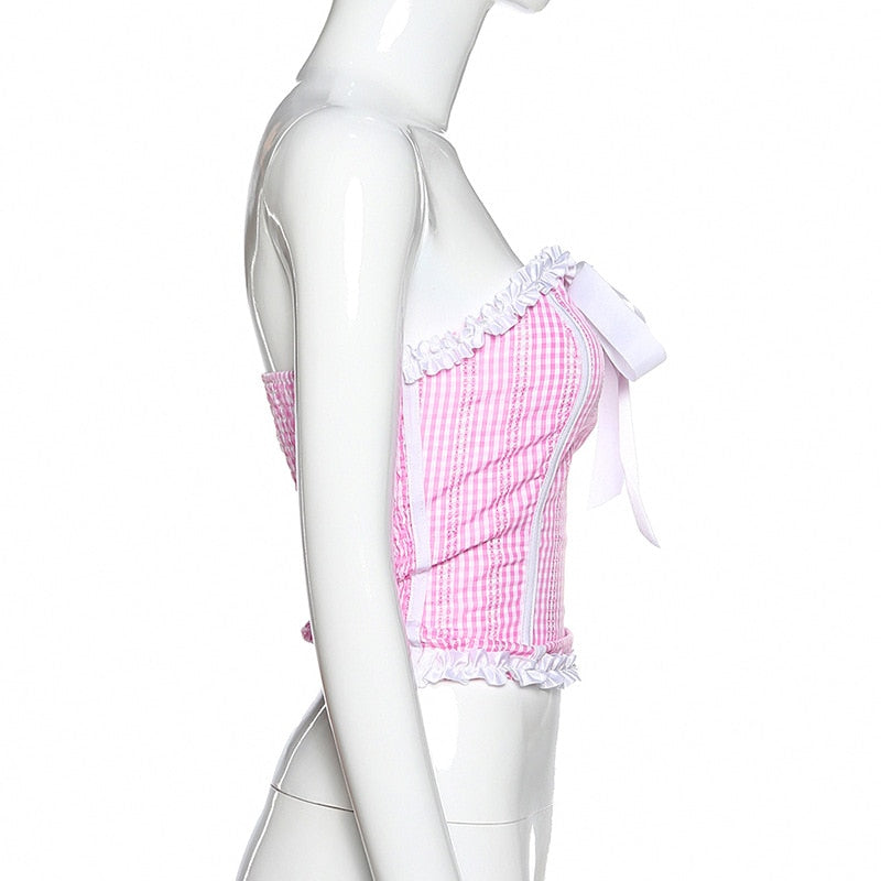 Pink Plaid Kawaii Crop Top Bustier with Bow