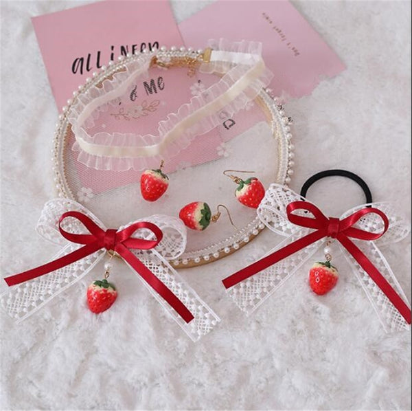 Mori Girl Strawberry Ribbon Kawaii Girl Spring Lolita Accessories