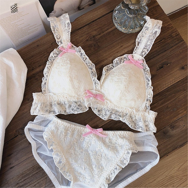 Romantic Princess Embroidered Fairy Lace Kawaii Lolita Nymphet Lingerie Set