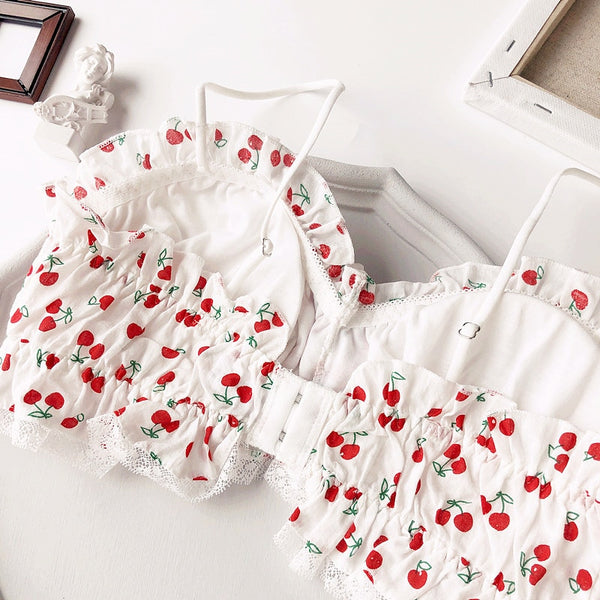 Cherry Retro Lolita Vintage Aesthetic 2-piece Kawaii Nymphet Lingerie Set