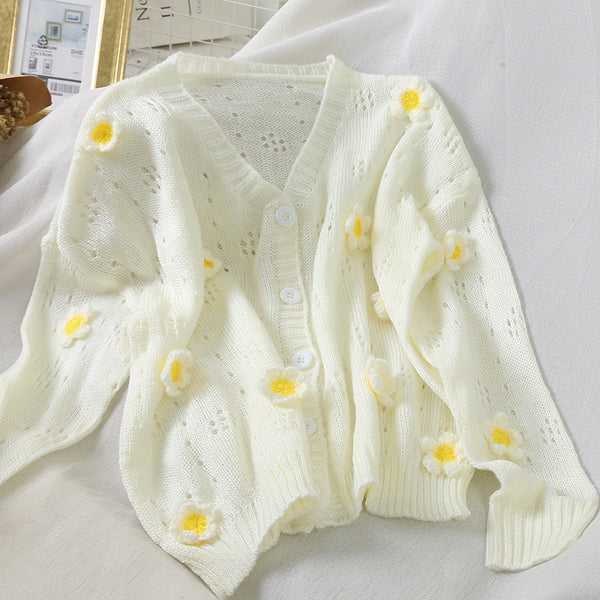Sweet Daisy Kawaii Long Sleeve Spring Cardigan